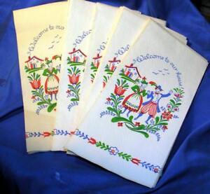 24 Pcs Années 1950 Vtg Papier Main Serviettes,pennsylvania Dutch Bienvenue Grt