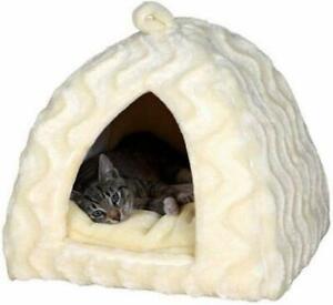 Trixie-Delia-Cat-Bed-Cuddly-Cave-40-x-40-x-42-cm-Cream