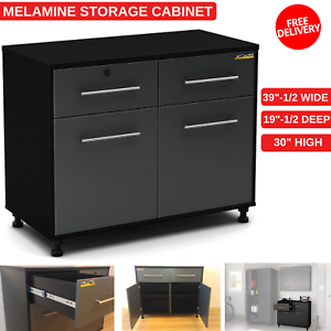 Melamine Storage Cabinet With Two Storage Drawers And Adjustable