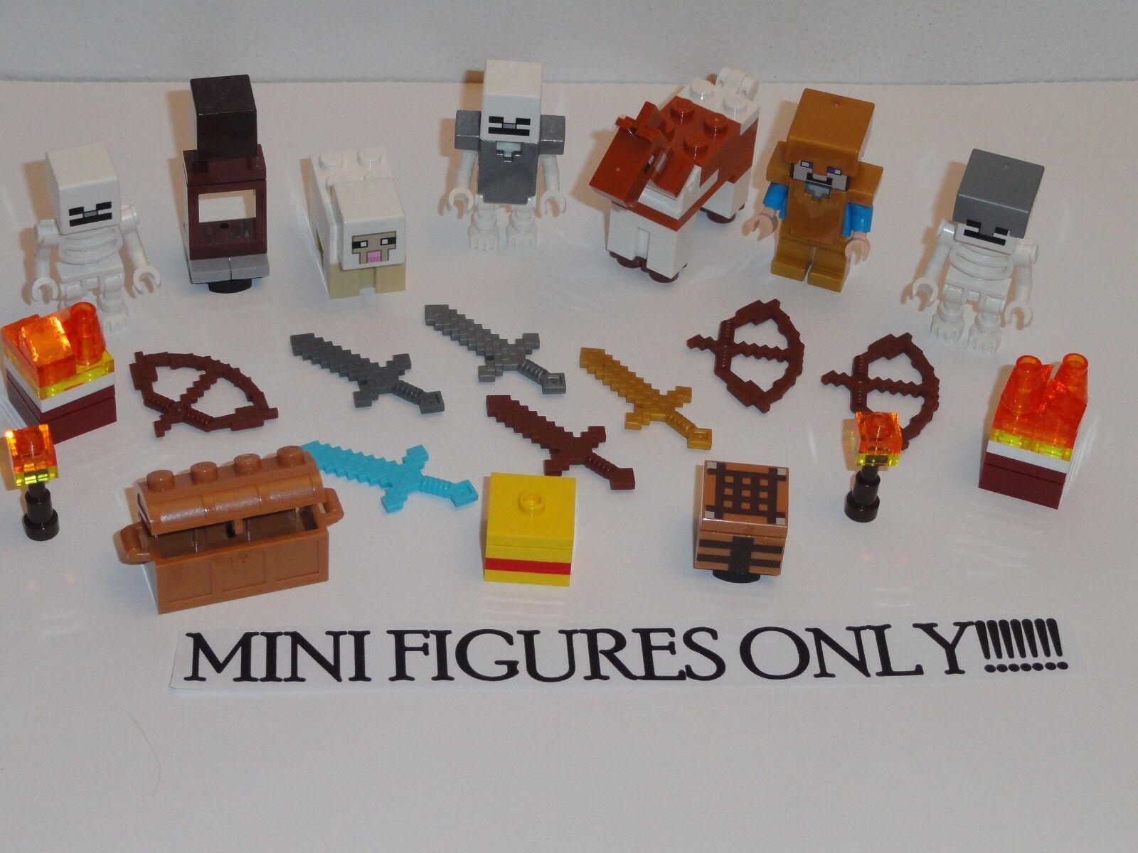 Nuevo Lego Lote 21127 Mini Figuras De Minecraft Steve armadura de oro Caballo Oveja fortaleza
