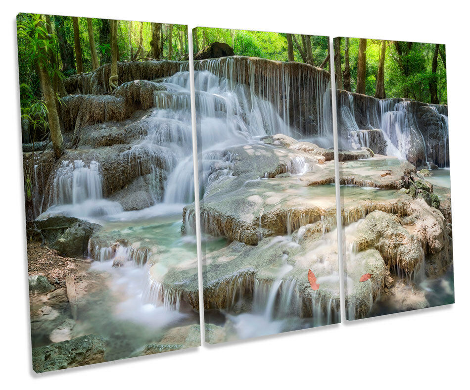 BELLA cascata paesaggio TREBLE TELA Wall Art Box Box Box Foto Incorniciata 5d9cce