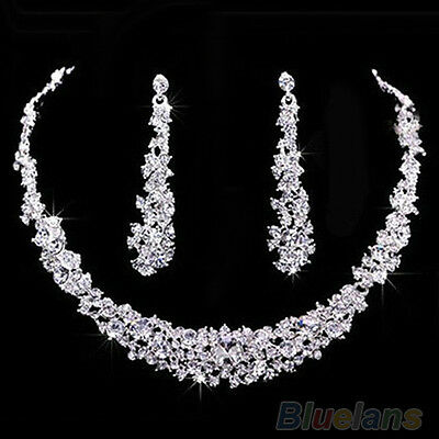 Trendy Wedding Bridal Prom Rhinestone Crystal Necklace Earrings Jewelry Set BHBU