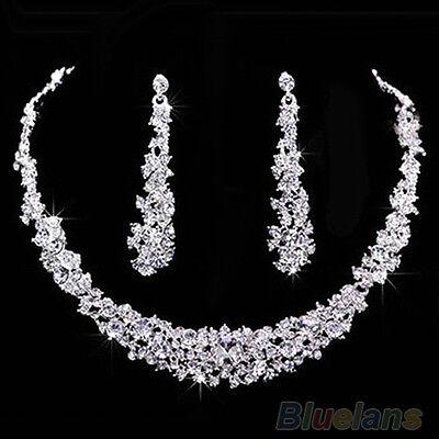Women Luxury Rhinestone Bridal Short Chain Necklace Long Earrings Jewelry Set