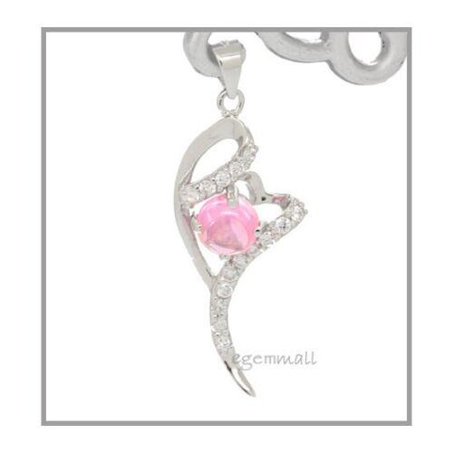 Sterling Silver Pendant w//CZ 14x32mm Pink #65130