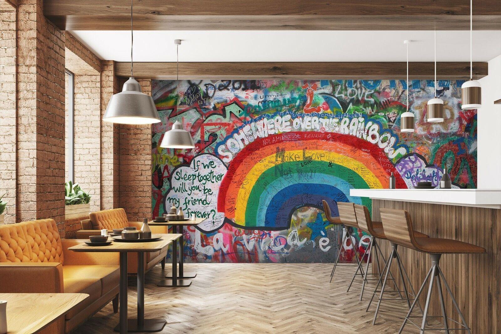 3D Text-Graffiti-Wand M02 Geschäft Tapete Wandgemälde Selbstklebend Handel Ang