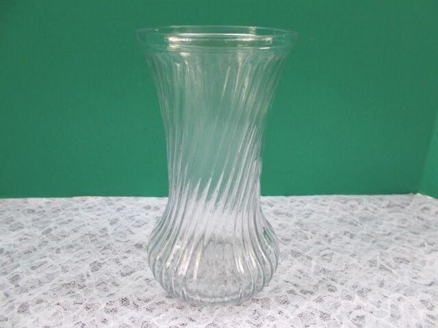 Vintage Hoosier Glass Clear Glass Vase 4082 4090 Spiral Ribbed 8 1
