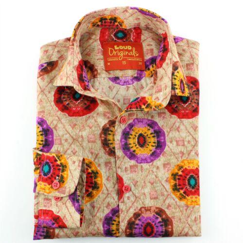 Camicia da uomo forte Originals Slim Fit Caleidoscopio Rosso Retro Psichedelico Costume