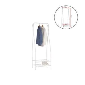 Kleiderstaender-Kleiderstange-Garderobenstaender-mit-2-Ablagen-aus-Metall-Weiss