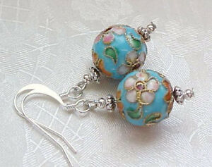 Marie-Antoinette-Earrings-Cloisonne-Aqua-Blue-Pink-Floral-Shabby-Chic-Romantic