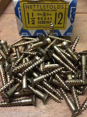 "Brass 14 x 1 1//2/"" countersunk wood screws Nettlefolds"