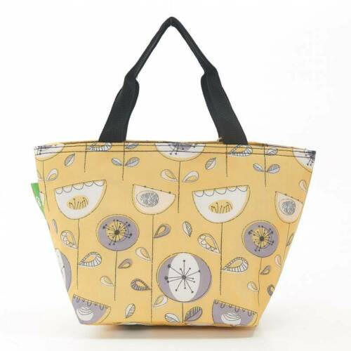 Eco Chic Mustard Flower Print Insulated Cool Lunch Bag Reusable Washable
