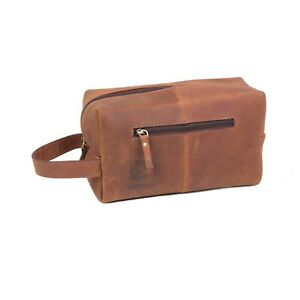 2553c1d110e8 Vintage Leather Toiletry Bag Mens Shaving Kit Cosmetic Grooming Case ...