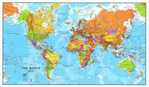 World Color Map Birthday ~ Frosting Sheet Cake Topper ~ Edible ~ D20591