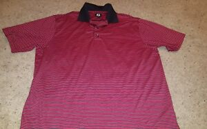 FOOTJOY-Men-039-s-Red-Black-Stripe-Poly-Spandex-Golf-Polo-Shirt-Size-XL-Short-Sleeve