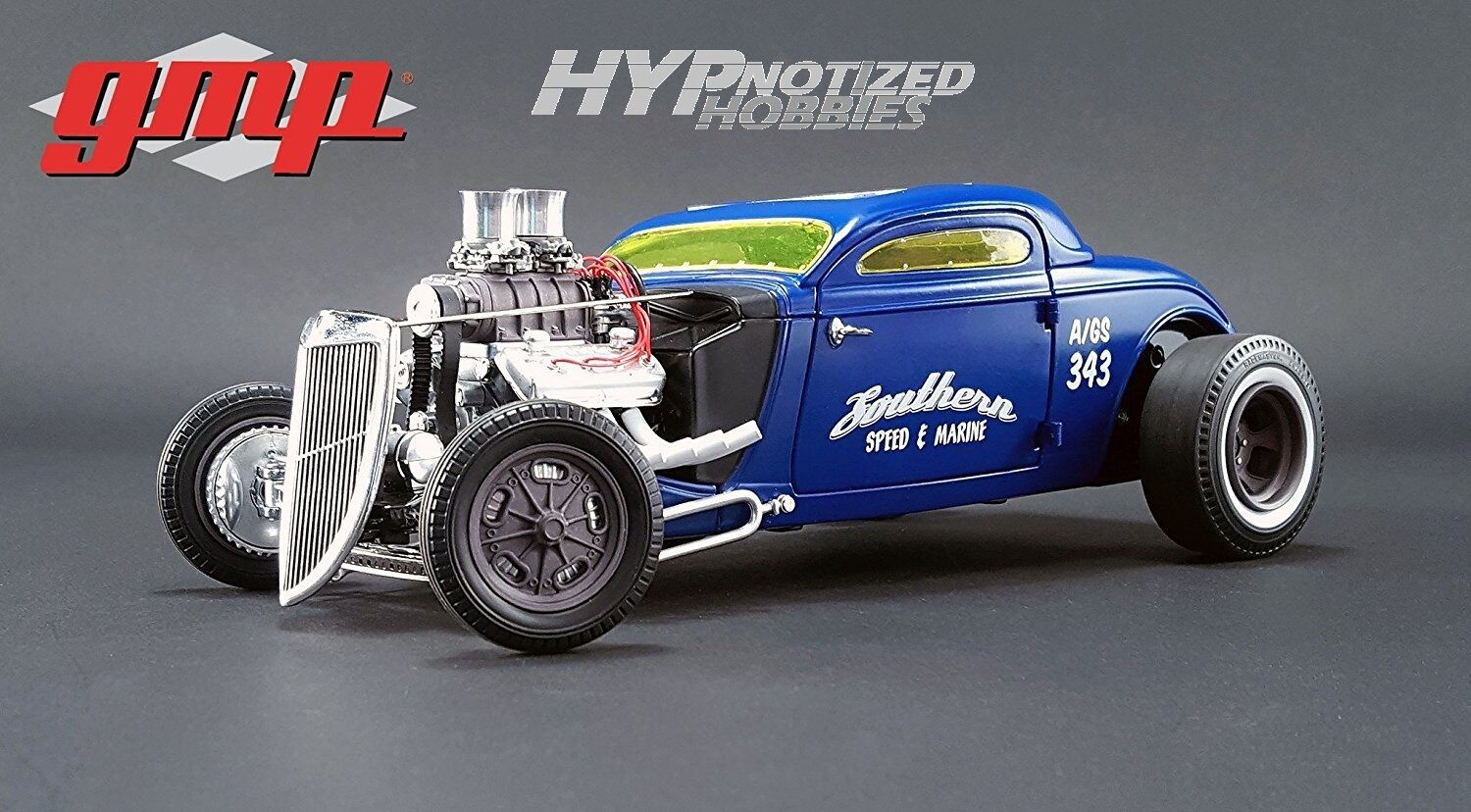 GMP 1 18  1934 SOUTHERN SPEED & MARINE ALTERED COUPE DIE-CAST blueE 18829