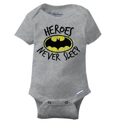 Heroes Never Sleep Gerber OnesieCool Bat Symbol Awake Night Baby Romper