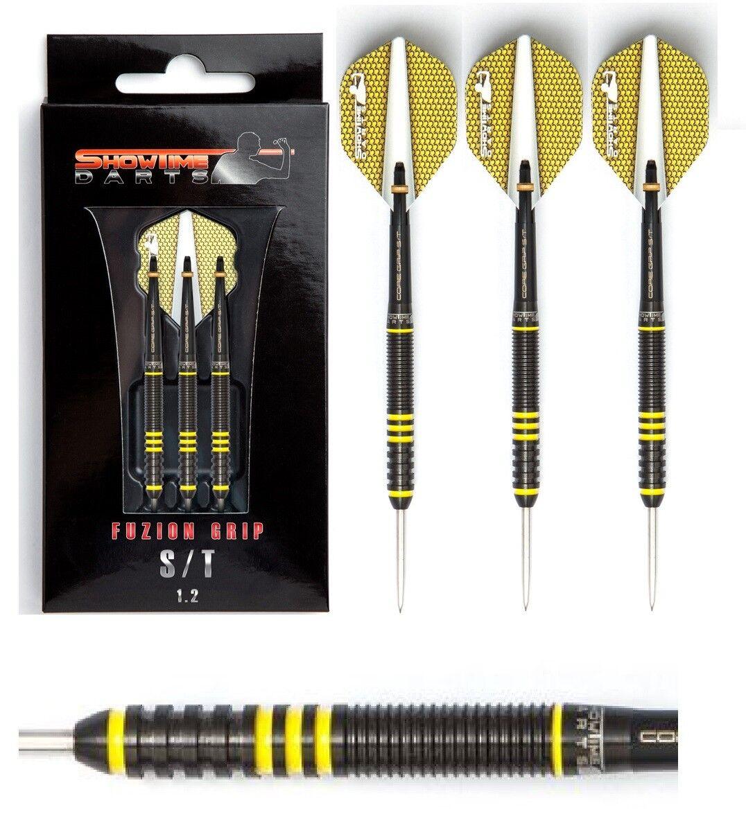 Showtime Dart - Fuzion Grip S T T T 1.2 schwarz Gelb 21g (Steel Dart) Dartpfeile e8202d