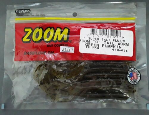 """20Pk Green Pumpkin Zoom 010025 Curly Tail Finesse Worm 4/"""""""
