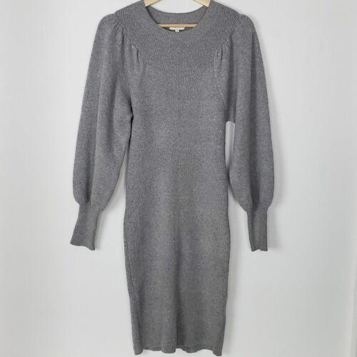 Reiss Nordica Bishop Sleeve Sweater Dress Gray Sma