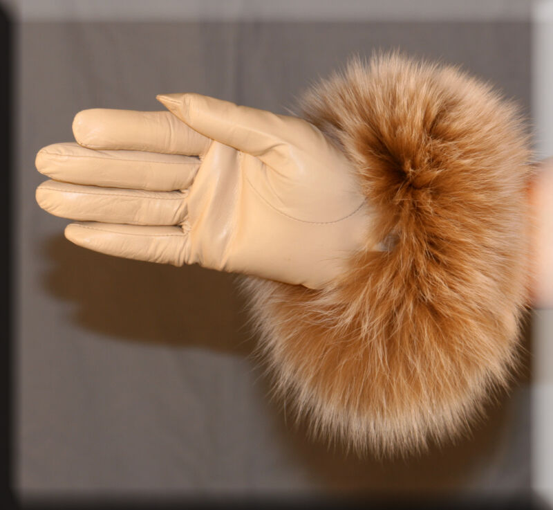 Brand New Cream Leather Gloves Blush Fox Fur Trim Cashmere Lining Size Small 6.5 Choice Materials