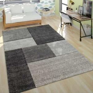 Grey Geometric Rug Modern Check Mat