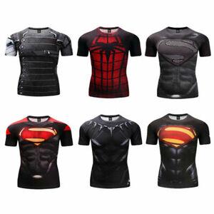 Short Sleeve Dri-fit Iron Man Compression Top Fashion Sports T Shirt