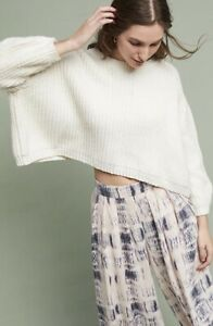 Anthropologie-Baja-Pullover-Knit-Sweater-By-Moth-Ivory-Cropped-Oversized-Size-L