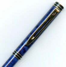 Made In France NOS Waterman Exclusive Blue Black Lacquer Marble Ballpoint Pen