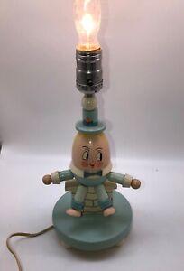 Vintage-Underwriters-Wooden-Humpty-Dumpty-Nursery-Child-039-s-Lamp-12-Lamp