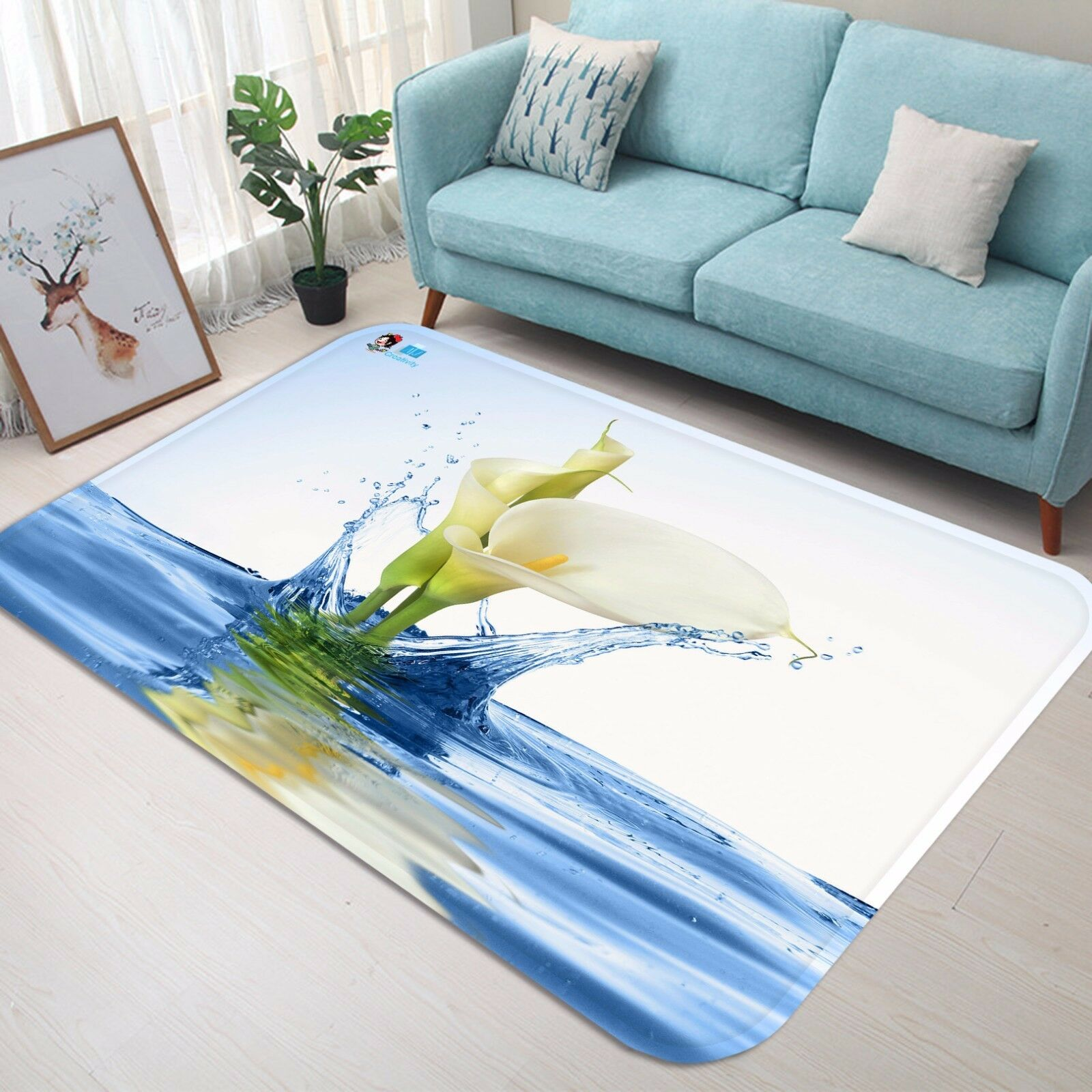 3D Water Flower 832 Non Slip Rug Mat Room Mat Round Elegant Photo Carpet CA