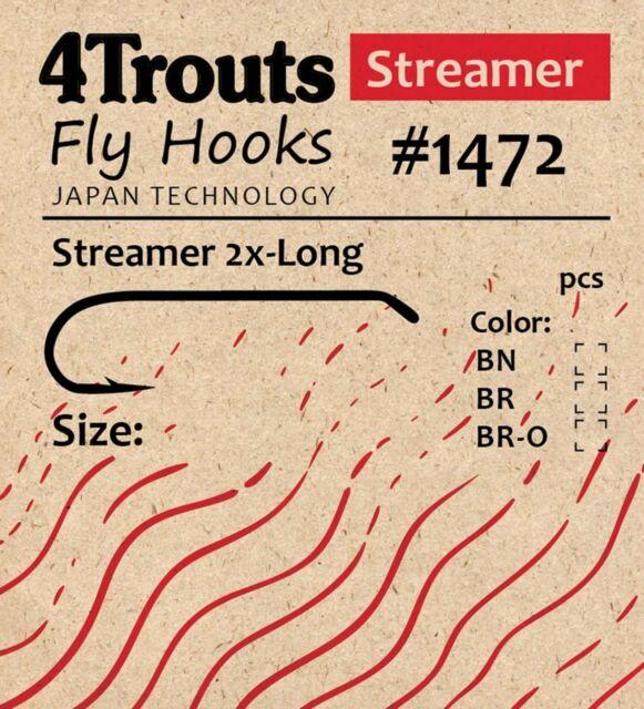 FLY TYING HOOKS 1x Long for tying Perch Flies Size #2-18 Black Nickel Streamer