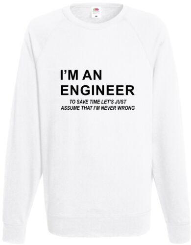 I/'m an engineer Felpa MAI SBAGLIATO GADGET smanettone Maglione COMPLEANNO