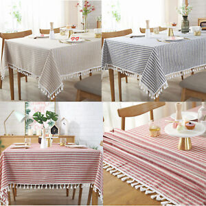 Stripe-Tassel-Tablecloth-Dust-proof-Table-Cover-for-Kitchen-Dinning-Tabletop-Dec