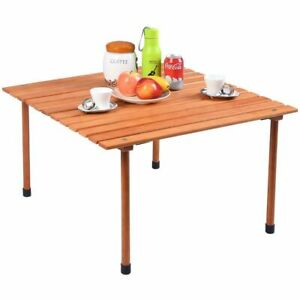 Outdoor Folding Camping Table Wood Roll Up Table BBQ Camping Picnic Travel w/Bag