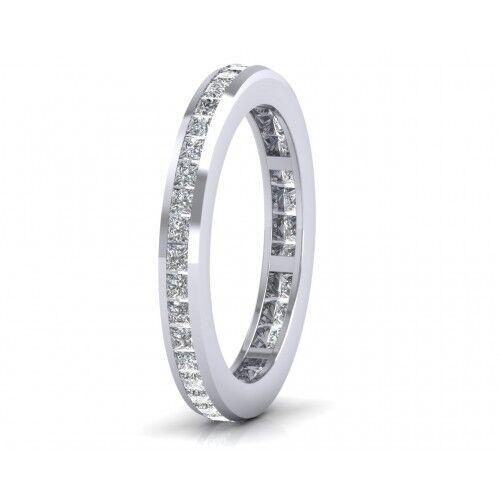 1.00ct Princess cut Diamonds Full Eternity Wedding Ring,9K White & Yellow gold