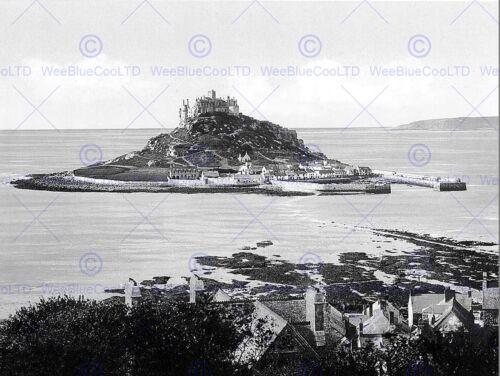 PENZANCE ST MICHAELS MOUNT VINTAGE HISTORY OLD BW PHOTO PRINT POSTER 1534BWB