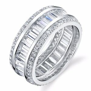 925 Sterling Silver thick CZ Baguette Eternity Wedding Band ...