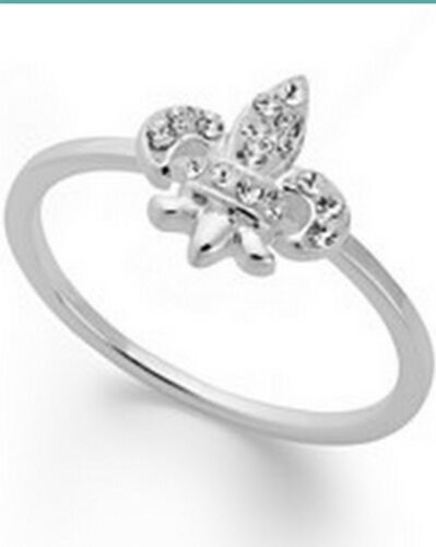 STERLING SILVER GENUINE CRYSTAL FLEUR DE LIS RING SIZE 6 BRAND NEW GIFT BOXED