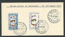 1957 ITALIA FDC EUROPA - FRANCOBOLLI APPLICATI SU CARTONCINO