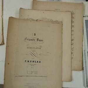 Flute-musique-KUHLAU-grand-duo-op-39-1-en-mi-mineur-antique-annees-1860