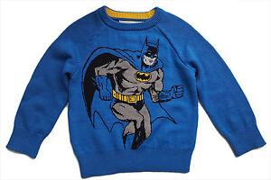 JUNK-FOOD-Baby-GAP-Boys-BLUE-Knitted-BATMAN-Jumper-Top-12-18m-18-24m-24-95