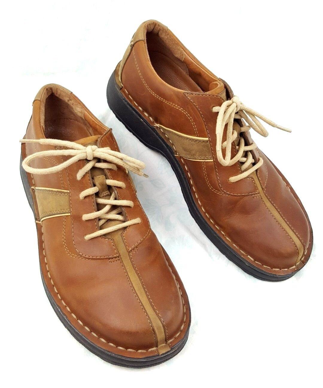 Clarks Active Brown Leather Oxford Split Toe Lace Up Casual shoes Men's Sz 7.5M