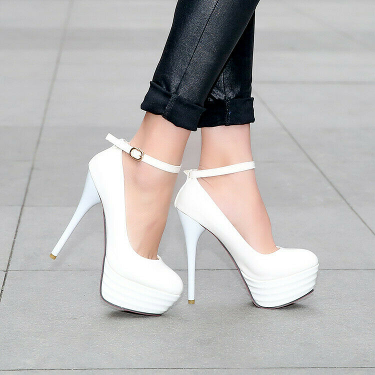 Womens Ladies Super High Heels Gown Ball Causal Buckle Party Fashion shoes New