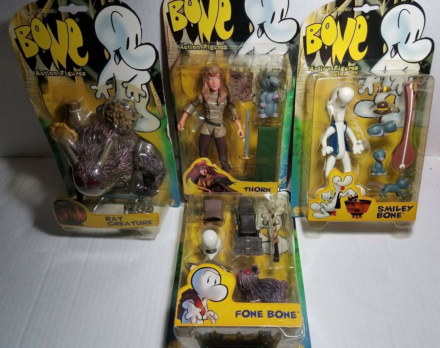 1996 OS  figurines Rat créature, Thorn, Smiley os, Fone Bone Jeff Smith  derniers styles