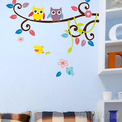 Lovely Cartoon Owl Tree Wall Stickers Removable Kids Room Vinyl Decal Home Decor