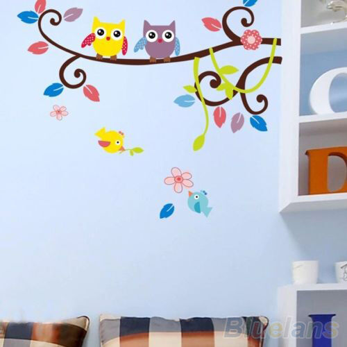 Flower Owl Tree Cartoon Removable Vinyl Decal Wall Stickers Home Decor Art Mural