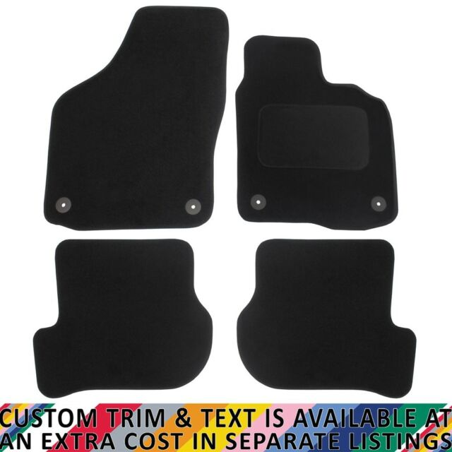 Black JVL Fully Tailored Car Mat Set with 2 Oval Clips 4 Pieces