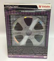 Blank 10 Pack Verbatim Dvd+r 4.7 Gb 120 Min Recordable Discs+jewel Cases
