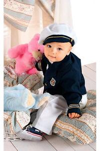 Utile Abito Stile Marinaio Vestito Battesimo Cerimonia Paggetto Tg 62-116 Cod 324