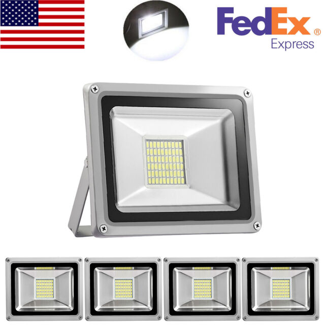 5X 30W LED Floodlights IP65 Spot Light Cool White Outdoor Garden Security Lamps
